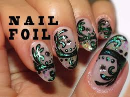 antique green using nail foil simple arabesque nail design youtube
