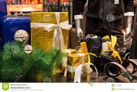 man fashion clothing shop window mannequins christmas decoration