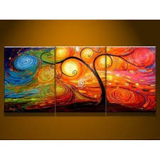tree colors 2 abstract oil painting on sale