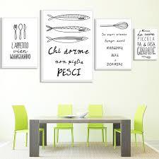 affiches cuisine panneau poissons de bande dessinée mur toile peinture schilderij