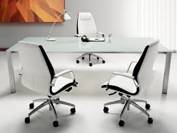 minimalist futuristic office furniture with glasses table on the