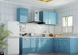 Blue Kitchen Cabinets Birch Wood Classic Blue Shaker Door Light Kitchen Cabinets