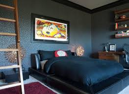 bedroom black bedroom with black modern bed and beautiful wall