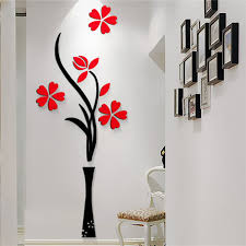 wall designs new beautiful design red the plum flower vase acrylic art sticker 3d
