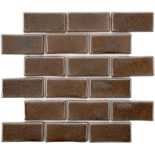 Brown Subway Tile Backsplash by Merola Tile Tessera Subway Sandstone 3 In X 6 In Glass Wall Tile