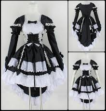 Anime Halloween Costumes Fashion Gothic Maid Cosplay Costume Anime Halloween Party Ball