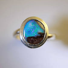 opal silver rings images Blue green red solid boulder opal ring in sterling silver jpg