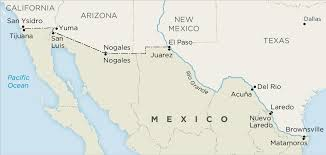 map usa mexico border us mexico border map us and mexico border map central america