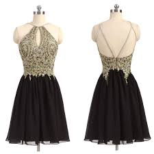 gold lace appliqued homecoming dresses halter hoco dresses little