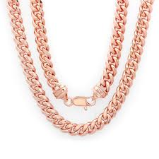 mens rose gold necklace images Rose gold electroplated brass 7 5mm cuban link chain 22 30 inch jpg