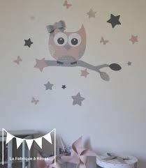 stickers étoiles chambre bébé stickers hibou et ses 16 étoiles poudré argent gris