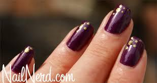 purple nail polish w gold foil