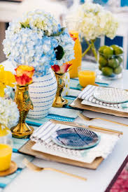 spring tablescape bright table decor yellow and blue table