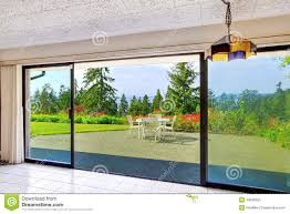 walkout basement from living room overlooking beautiful view stock