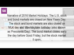 is the stock market closed on presidents day