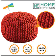 Ottoman Red by Pouf Ottoman Footstool Pouffe Knitted Gumball Ball Poof Foot Rest