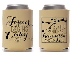 wedding koozie forever begins today personalized monogrammed outdoor wedding