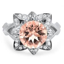 lotus flower engagement ring noori 14k white gold 2ct tgw cut morganite diamond lotus