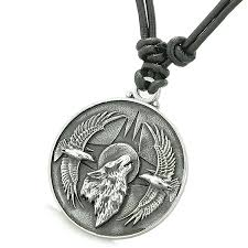 charm leather necklace images Amulet howling wolf eagles wild moon powers charm jpg