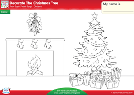 decorate the christmas tree worksheet u2013 color super simple
