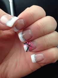 gel nails french tip with black flower nails pinterest gel