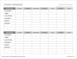 Chore Sheet Template Chore Schedule Template