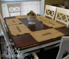 Dining Room Table Top Table Top Stencils Rectangular White Finished Wooden Kitchen