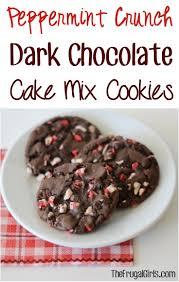 peppermint crunch dark chocolate cake mix cookies