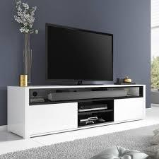 evoque white high gloss tv unit with soundbar shelf amazon co uk