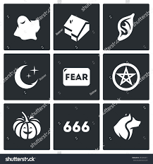 vector set fear icons ghost house stock vector 443252611