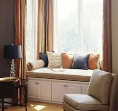Kitchen Bay Window Curtain Ideas by Bay Window Seat With Pillows Panels And Chair Slipcover Window