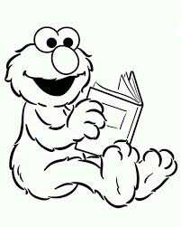 baby elmo reading book sesame street coloring color luna