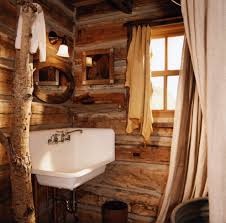 rustic curtain ideas bathroom rustic with round mirror themed