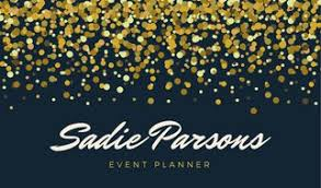 Event Business Cards Navy Gold Confetti Event Planner Business Card Templates By Canva