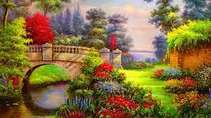 vibrant wallpaper 1920x1080 vibrant flowers bridge river desktop pc and mac wallpaper