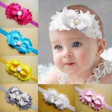 toddler hair bows shabby flowers baby girl headbands chiffon fabric flower pearls