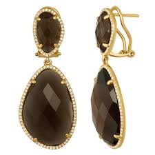 smoky quartz earrings smoky quartz diamond and gold earrings for sale at 1stdibs