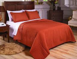 Bedspreads And Coverlets Quilts Vintage Washed 100 Cotton 2pcs Solid Rust Orange Quilt Bedspread