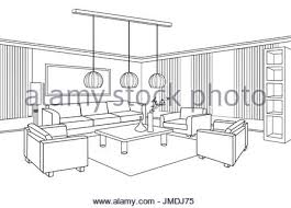 living room lounge interior sketch place for reading with armchair