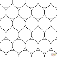 tessellation with tridecagon and triangle coloring page free