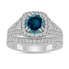 engagement ring and wedding band set blue diamond engagement ring wedding band sets 1 78 carat 14k