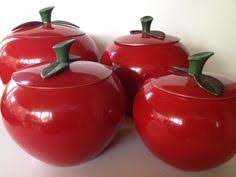 apple kitchen canisters set of 4 apple canisters aluminum metal apple by thevintageporch