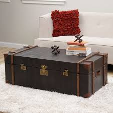 Trunk Style Coffee Table Unique Black Croc Emboss Leather Finish Storage Trunk Style Coffee