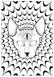 drawing of leaves constituting a majestic cat head coloring page