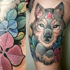 image result for neo traditional wolf tattoos