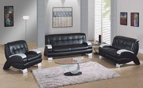 Black Living Room Chair Stylish And Modern Black Leather Living Room Furniture American