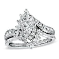 marquise cut wedding set 1 ct t w marquise frame bridal set in 14k white gold