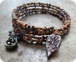beading wire bracelet images Free peanut farfelle seed bead patterns memory wire cuff jpg