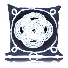 ornamental knot outdoor pillow in navy thos baker