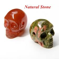 orange stone necklace images Wholesale natural stone skull pendant necklaces men women jpg